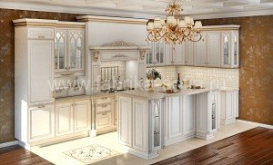 Кухня в классическом стиле, изготовлена на заказ по эксклюзивному дизайн-проекту.